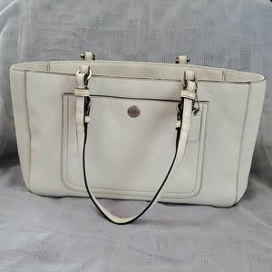 Coach White Leather Book Tote Bag